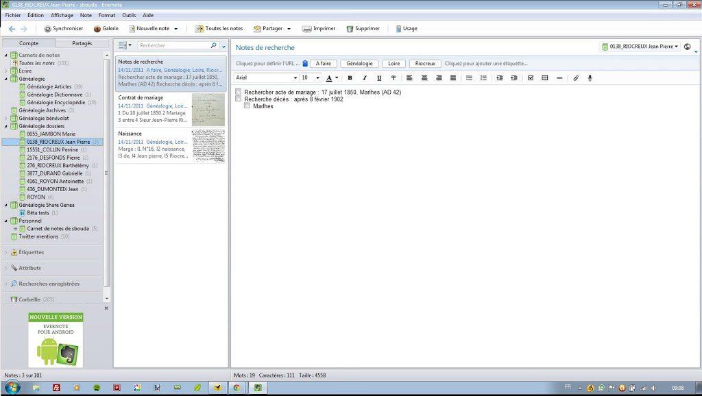 Evernote et la recherche en archives